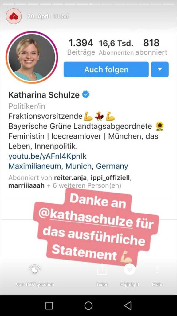 Katharina Schulze hat reagiert